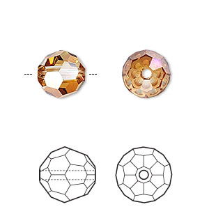 Bead, Swarovski® Crystals, Crystal Passions®, Crystal Copper, 10mm Faceted Round (5000). Sold Per Pkg 2 5000