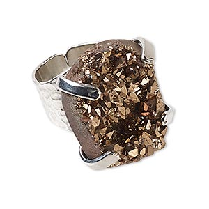 Finger Rings Druzy Agate Browns / Tans