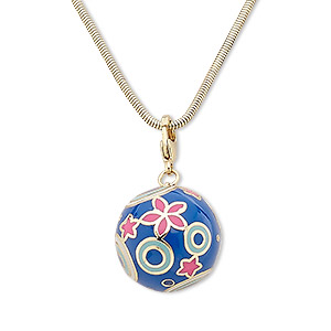Pendant Style Enameled Metals Gold Colored