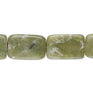 Bead, Serpentine (natural), 18x11mm-19x13mm Flat Rectangle, C Grade, Mohs Hardness 2-1/2 6. Sold Per 15-inch Strand