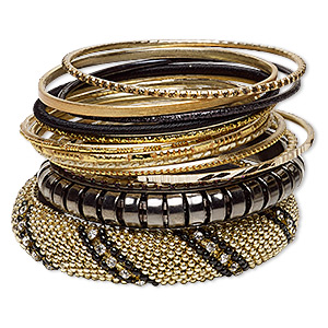Bracelet, Bangle, Resin / Glass Rhinestone / Polyester / Gold-finished Aluminum / Gunmetal-finished Steel, Assorted Colors Glitter, 2.5-17mm Wide, 8 Inches. Sold Per 13-piece Set 7050JD