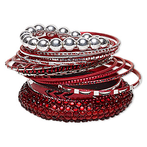 Bracelet, Bangle Stretch, Resin / Aluminum / Silver-coated Plastic / Brass, Red Black Glitter, 2.5-17mm Wide, 6-1/2 8 Inches. Sold Per 15-piece Set 7052JD