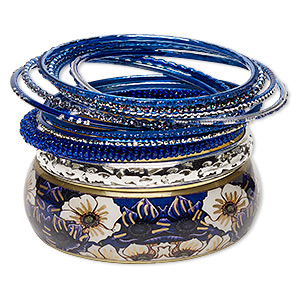 Bracelet, Bangle, Enamel / Glass / Polyester / Silver-plated Aluminum / Brass / Gold-finished Steel, Royal Blue Glitter, 2.5-24mm Wide, 8 Inches. Sold Per 11-piece Set 7054JD