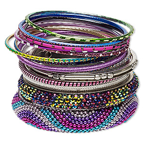 Bracelet, Bangle, Glass Rhinestone / Resin / Polyester / Silver-plated Aluminum / Brass / Steel, Assorted Colors Glitter, 2.5-17mm Wide, 8 Inches. Sold Per 14-piece Set 7055JD