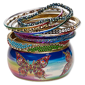 Bracelet, Bangle, Enamel / Glass / Glass Rhinestone / Resin / Gold-finished Steel / Aluminum / Brass, Assorted Colors Glitter, 2.5-37mm Wide, 7-8mm Inches. Sold Per 12-piece Set 7057JD