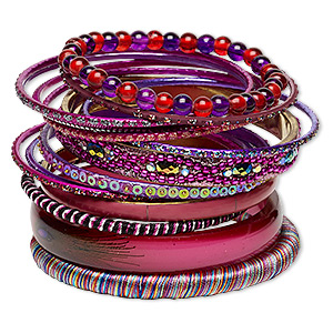 Bracelet, Bangle, Enamel / Glass / Resin / Polyester / Plastic Sequin / Gold-finished Steel / Aluminum / Brass, Assorted Colors Glitter, 2.5-12mm Wide, 8 Inches. Sold Per 14-piece Set 7059JD