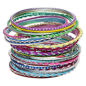 Bracelet, Bangle, Aluminum, Assorted Neon Colors Glitter, 2.5-7mm Wide, 8 Inches. Sold Per 24-piece Set 7061JD