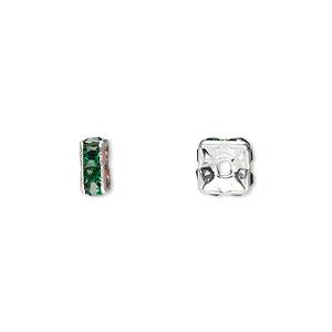 Bead, Glass Rhinestone Silver-plated Brass, Emerald Green, 6x3mm Squaredelle. Sold Per Pkg 10