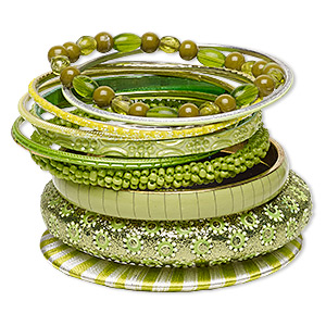 Bracelet, Bangle, Resin / Polyester / Glass / Brass / Gold-finished Aluminum, Assorted Colors Glitter, 2.5-17mm Wide, 7-1/2 8 Inches. Sold Per 12-piece Set 7062JD