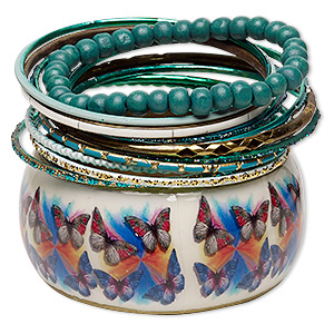 Bracelet, Bangle Stretch, Resin / Enamel / Painted Wood / Gold-finished Steel / Aluminum / Brass, Assorted Colors Glitter, 2.5-37mm Wide, 7-8 Inches. Sold Per 12-piece Set 7067JD
