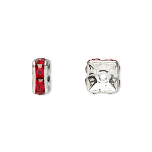 Bead, Glass Rhinestone Silver-plated Brass, Red, 8x4mm Squaredelle. Sold Per Pkg 10
