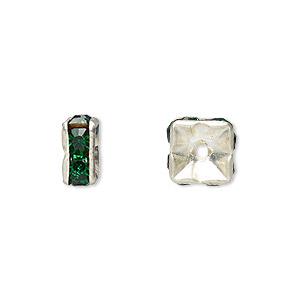 Bead, Glass Rhinestone Silver-plated Brass, Emerald Green, 8x4mm Squaredelle. Sold Per Pkg 10