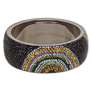 Bracelet, Bangle, Epoxy / Preciosa Glass Rhinestone / Gunmetal-plated Brass, Multicolored, 30mm Wide Half Circle Design, 2-3/4 Inch Inside Diameter. Sold Individually 7073JD