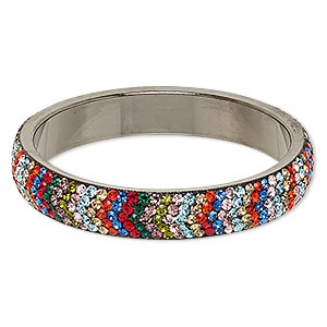 Bracelet, Bangle, Epoxy / Preciosa Glass Rhinestone / Gunmetal-plated Brass, Multicolored, 15mm Wide Chevron Design, 2-3/4 Inch Inside Diameter. Sold Individually 7075JD
