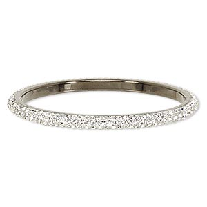 Bracelet, Bangle, Epoxy / Preciosa Glass Rhinestone / Gunmetal-plated Brass, Black Clear, 6mm Wide, 8 Inches. Sold Individually 7078JD