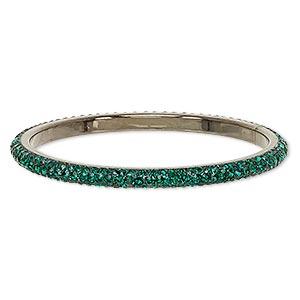 Bracelet, Bangle, Epoxy / Preciosa Glass Rhinestone / Gunmetal-plated Brass, Black Emerald Green, 6mm Wide, 8-1/2 Inches. Sold Individually 7084JD