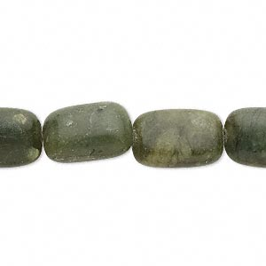 Bead, Serpentine (natural), 15x10mm Rounded Flat Rectangle, C Grade, Mohs Hardness 2-1/2 6. Sold Per 15-inch Strand