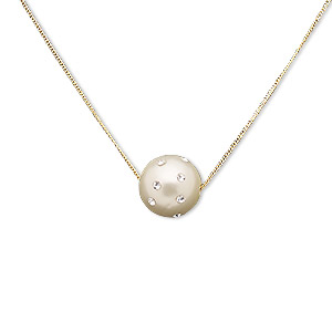 """Necklace, Acrylic / Czech Glass Rhinestone / Gold-finished Brass / """"pewter"""" (zinc-based Alloy), White Clear, 16mm Round, 16 Inches 3-inch Extender Chain Lobster Claw Clasp. Sold Individually 7101JD"""