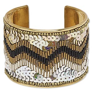 Bracelet, Cuff, Glass / Acrylic / Plastic Sequin / Brass, Iridescent Multicolored, 52mm Wide Zigzag Design, Adjustable 7 7-1/2 Inches. Sold Individually 7128JD