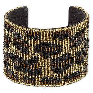 Bracelet, Cuff, Cotton / Glass / Steel, Black / Brown / Gold, 52mm Wide Cheetah Print, Adjustable 6 6-1/2 Inches. Sold Individually 7129JD