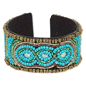 Bracelet, Cuff, Acrylic / Cotton / Glass / Plastic Sequin / Steel, Iridescent Multicolored, 31mm Wide Oval Line Stripe Design, Adjustable 6-7 Inches. Sold Individually 7132JD
