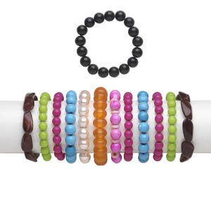 Bracelet Mix, Stretch, Acrylic / Glass / Resin, Mixed Colors, 3-30mm Wide Mixed Shape, 6 Inches. Sold Per Pkg 12 7141FL