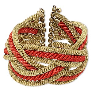 Bracelet, cuff, polyester with gold-finished steel and brass, red, 42mm wide with braided and coiled wire design, adjustable from 6-1/2 to 7-1/2 inches.