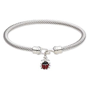 "Bracelet, Bangle, Enamel / Czech Glass Rhinestone / Silver-plated Brass / ""pewter"" (zinc-based Alloy), Red Black, 4mm Twisted Cable 13x9mm Ladybug, 7-1/2 Inches Hook-and-eye Clasp. Sold Individually 7182JD"