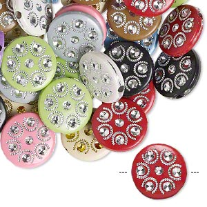 Bead Mix, Acrylic, Mixed Colors, 18mm Double-sided Flat Round Horseshoe Design, 2mm Hole. Sold Per Pkg 50