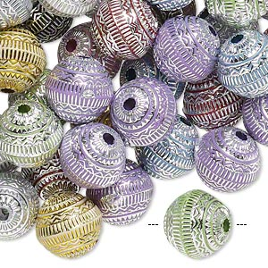 Bead Mix, Acrylic, Mixed Colors, 11mm Round Line Design, 2mm Hole. Sold Per Pkg 100