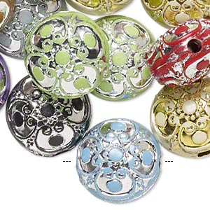 Bead Mix, Acrylic, Mixed Colors, 17mm Double-sided Puffed Flat Round Filigree Design, 2.5mm Hole. Sold Per Pkg 24