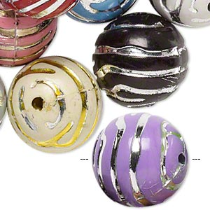 Bead Mix, Acrylic, Mixed Colors, 18mm Round Line Design, 2.5mm Hole. Sold Per Pkg 24