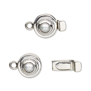 Box (Tab) Clasp Freshwater Pearl Silver Colored