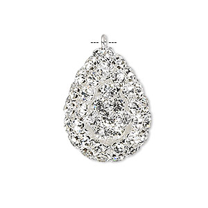 Focal, Glass Rhinestone Silver-plated Brass, Clear, 30x22mm Double-sided Teardrop. Sold Individually