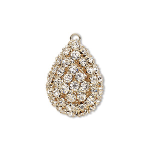 Focal, Glass Rhinestone Gold-finished Brass, Clear, 30x22mm Double-sided Teardrop. Sold Individually
