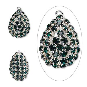 Focal, Glass Rhinestone Silver-plated Brass, Emerald Green, 30x22mm Double-sided Teardrop 4mm Chatons. Sold Individually