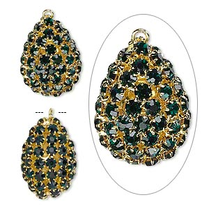 Focal, Glass Rhinestone Gold-finished Brass, Emerald Green, 30x22mm Double-sided Teardrop. Sold Individually