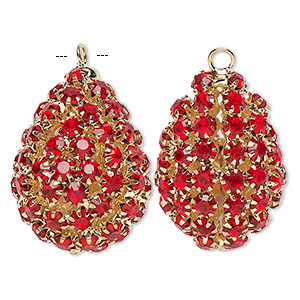 Focal, Glass Rhinestone Gold-finished Brass, Ruby Red, 30x22mm Double-sided Teardrop. Sold Individually