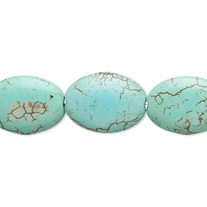 Bead, Magnesite (dyed / Stabilized), Blue-green, 17x13mm Puffed Oval, C Grade, Mohs Hardness 3-1/2 4. Sold Per 16-inch Strand