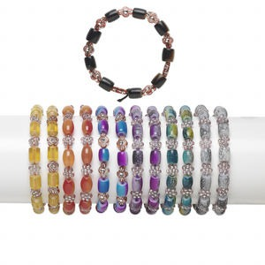 Bracelet Mix, Stretch, Acrylic / Resin / Glass, Mixed Colors, 8x7mm-10x7mm Mixed Shape, 6 Inches. Sold Per Pkg 12 7211FL