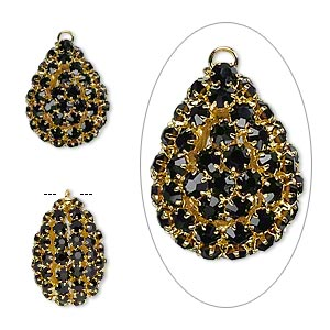 Focal, Glass Rhinestone Gold-finished Brass, Black, 30x22mm Double-sided Teardrop 4mm Chatons. Sold Individually