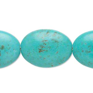 Bead, Magnesite (dyed / Stabilized), Light Blue, 24x18mm-25x18mm Puffed Oval, C Grade, Mohs Hardness 3-1/2 4. Sold Per 15-inch Strand