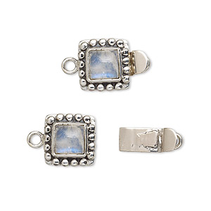 Box (Tab) Clasp Rainbow Moonstone Silver Colored