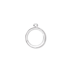 Drop, Fine Silver, 13mm Round 12mm Round Bezel Setting. Sold Per Pkg 2