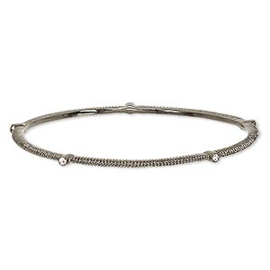 Bracelet, Bangle, Glass Rhinestone Gunmetal-plated Brass, Clear, 3mm Wide Corrugated Design, 8 Inches. Sold Individually 7226JD