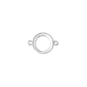 Link, Fine Silver, 11mm Open-back Round 10mm Round Bezel Cup Setting. Sold Per Pkg 2