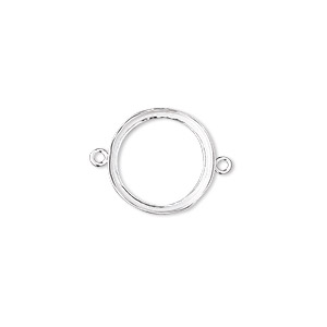 Link, Fine Silver, 14.5mm Open-back Round 14mm Round Bezel Cup Setting. Sold Per Pkg 2
