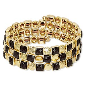 Bracelet, Acrylic / Gold-coated Plastic / Gold-finished Brass / Steel Memory Wire, Black, 22mm Wide Flat Square, Adjustable 7-1/2 9 Inches. Sold Individually 7230JD