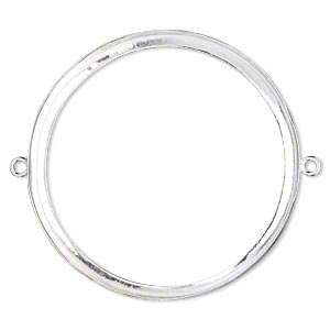 Link, Fine Silver, 39mm Open-back Round 38mm Round Bezel Cup Setting. Sold Individually
