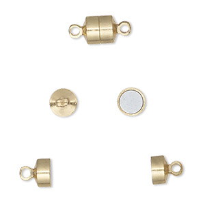 Clasp, Magnetic Barrel, Gold-finished Brass, 6x5mm. Sold Per Pkg 100